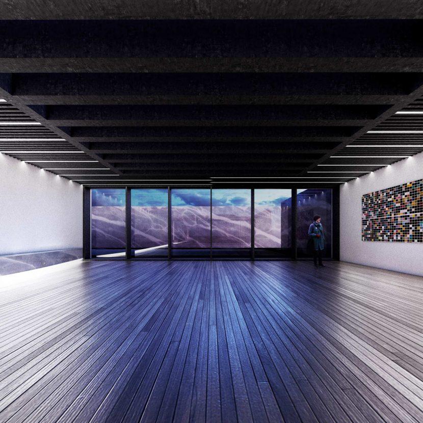 Render notturno progetto architettonico interno soggiorno