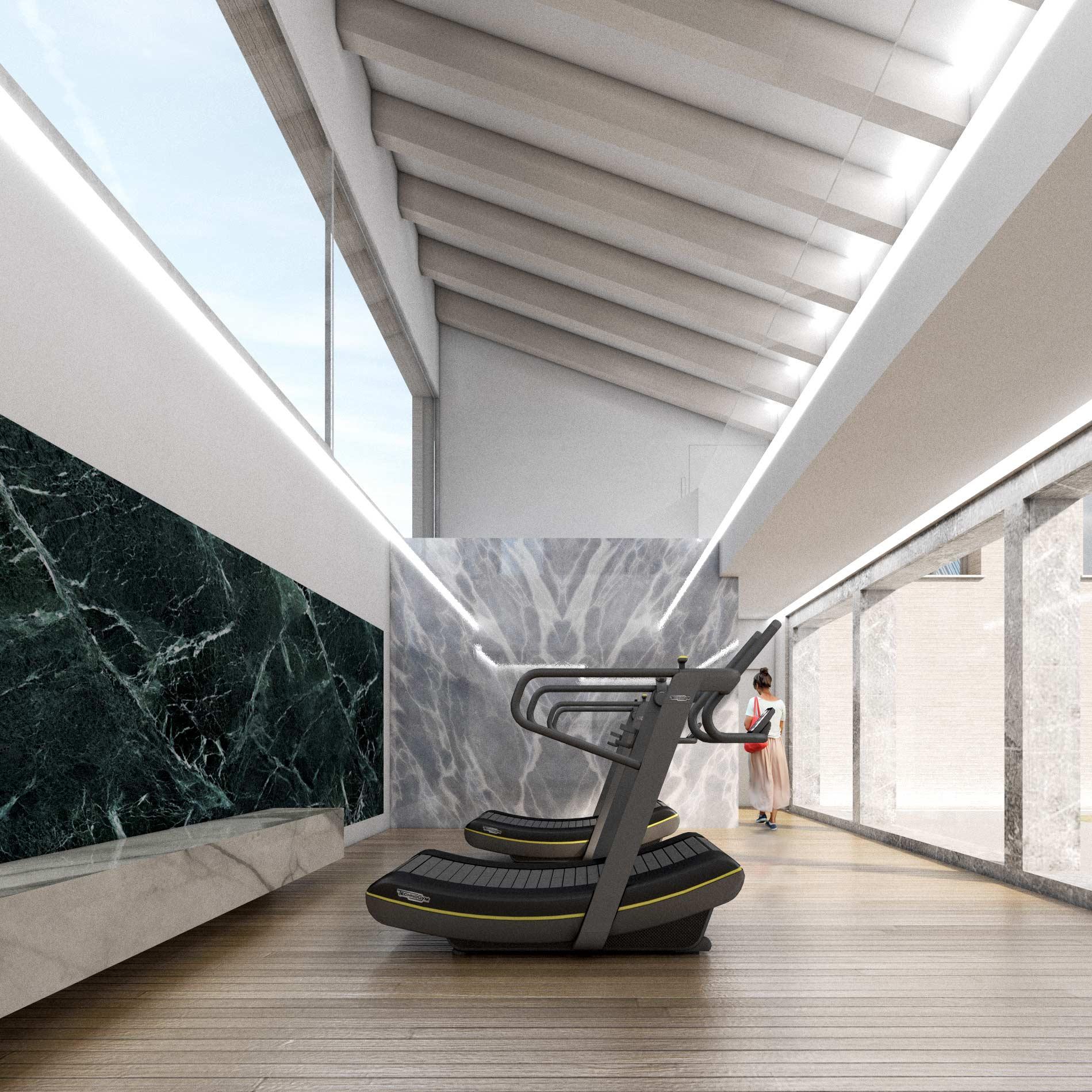 Beautiful render di interno per palestra technogym for Architetto di interni roma