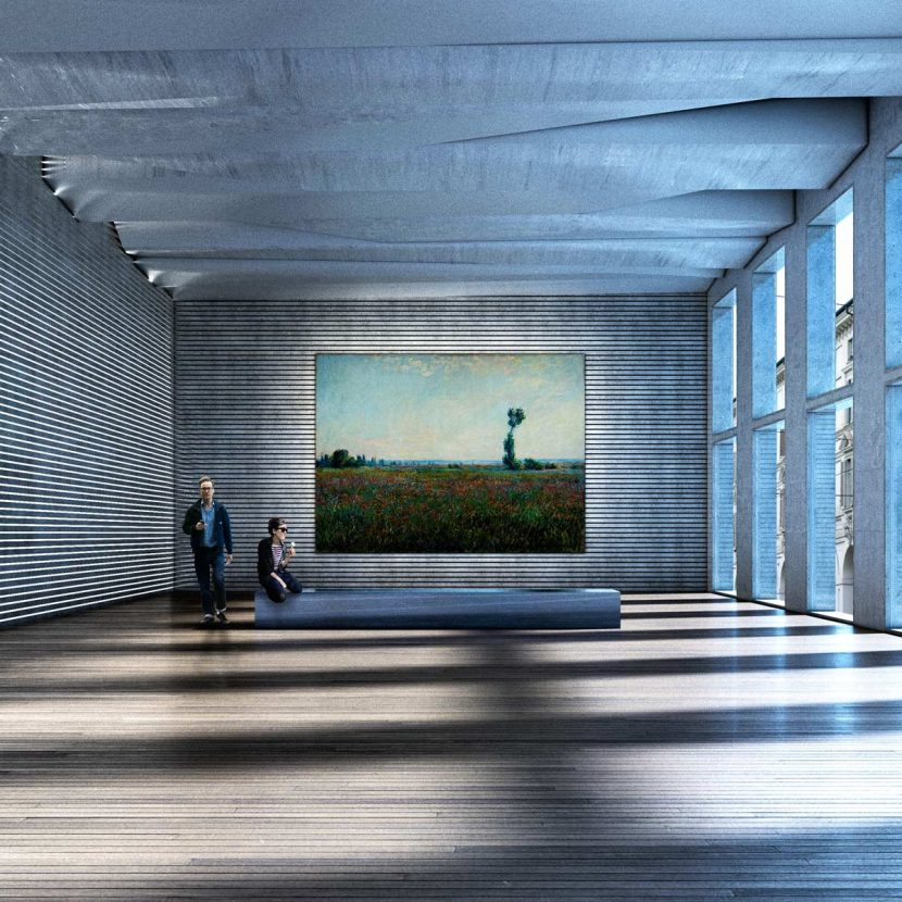 Render progetto architettura interno - Museo