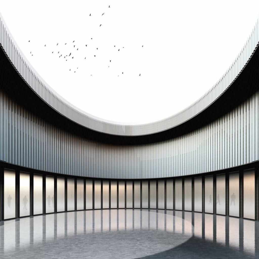 Progetto di facciata in metallo e vetro - Corte interna per edificio commerciale