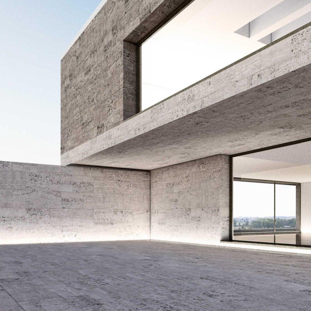 Progetto per residenza unifamiliare Corte esterna rivestimento in pietra