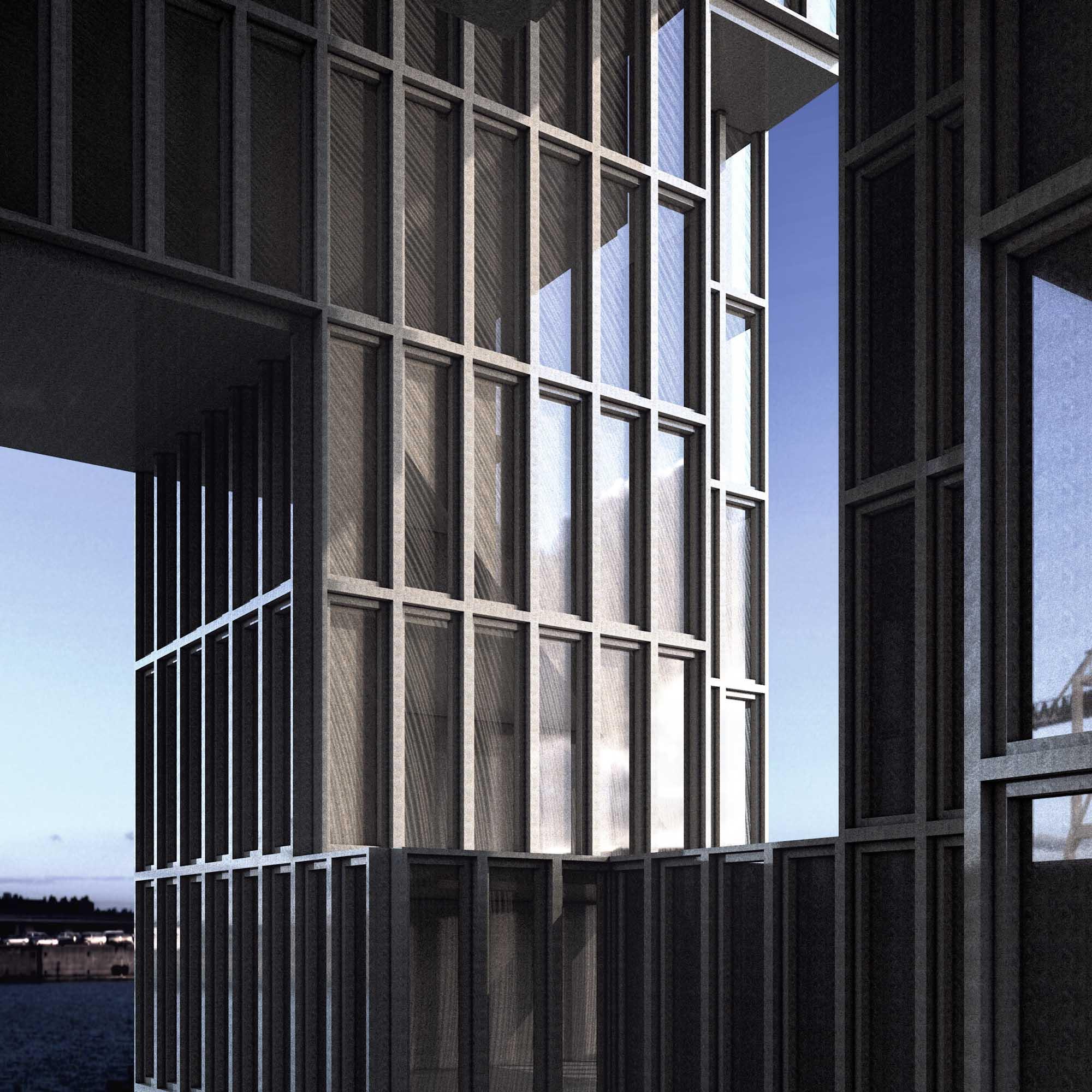 Render esterno - facciata continua in metallo