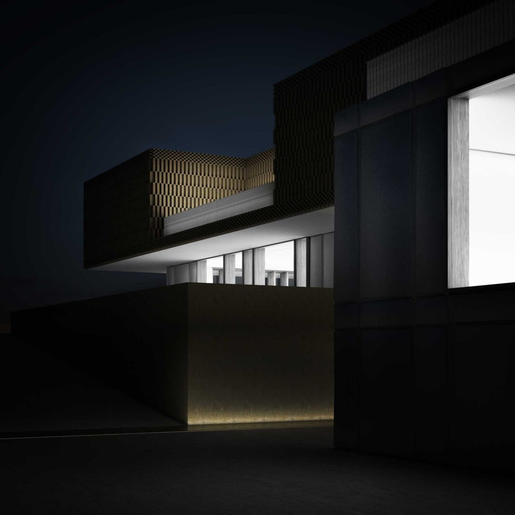 Outside rendering at night Project for single-family house with metal facade