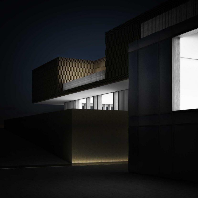 Render esterno notturno Progetto per villa facciata in metallo