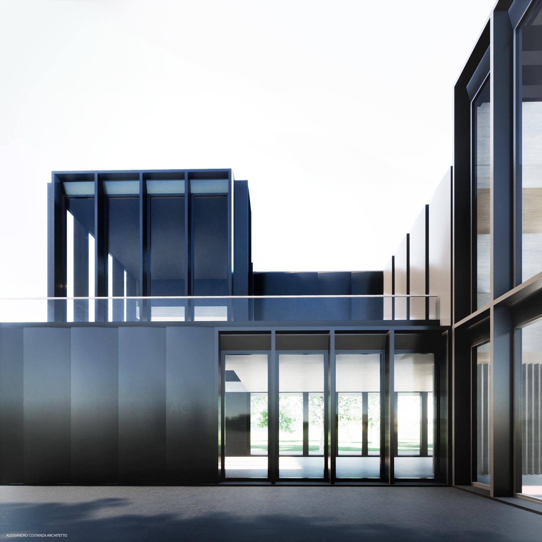 outside rendering - facade on interior couryard