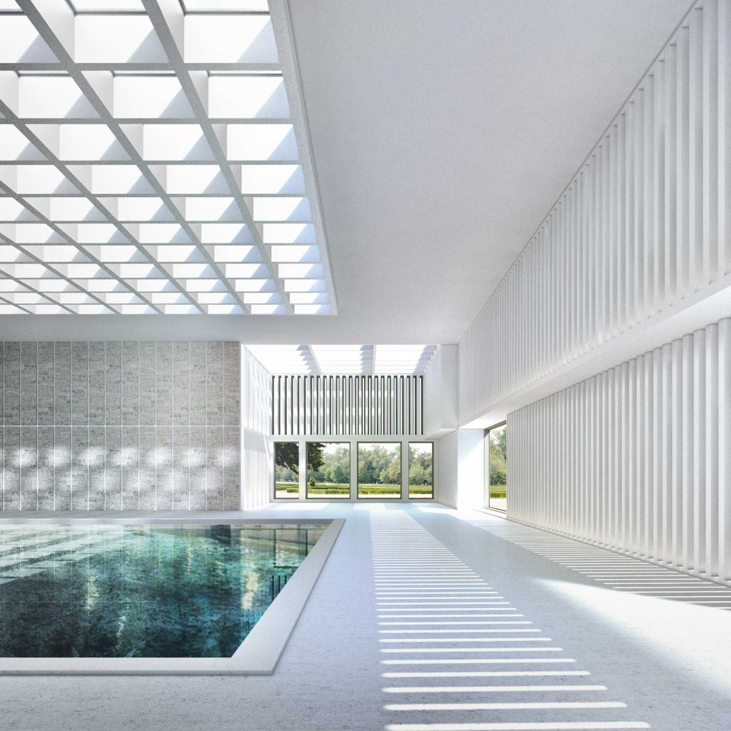 interior rendering - swimming pool spa