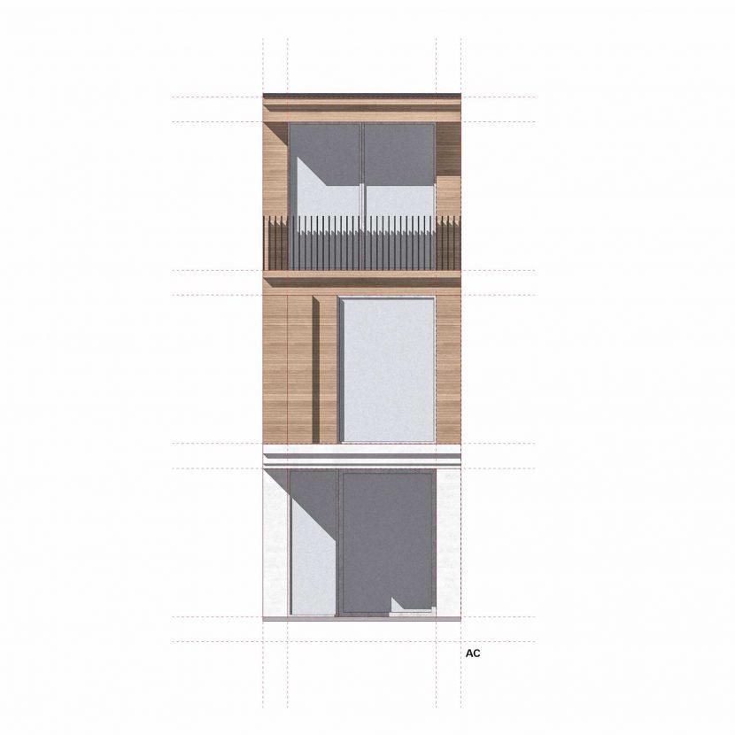 Studio facciata fabbricato residenziale rivestimento in pietra e legno