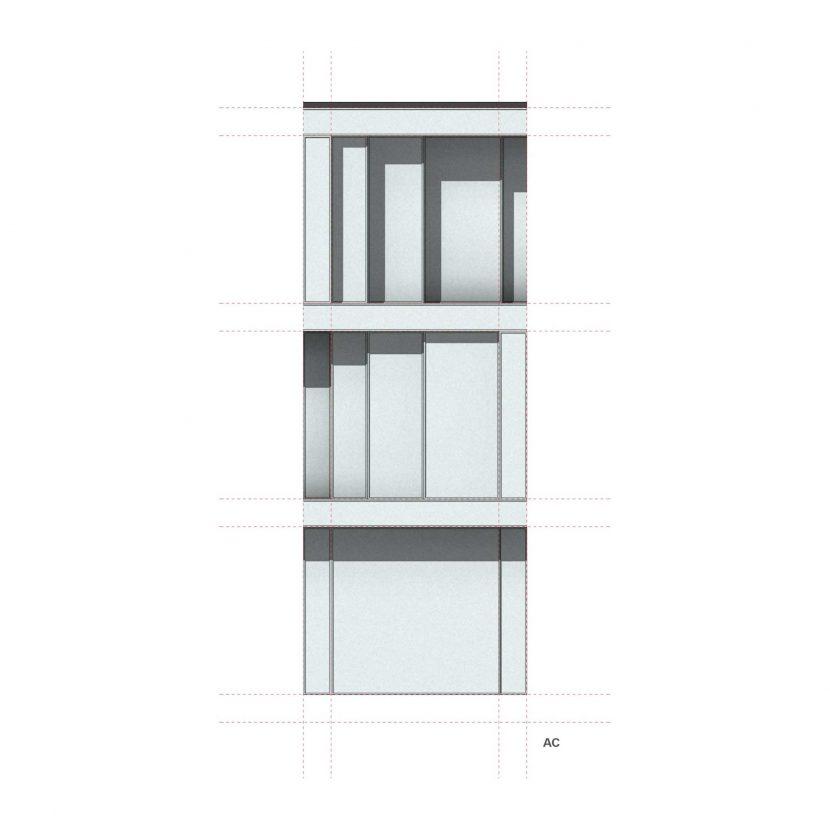 Studio facciata modulare in vetro