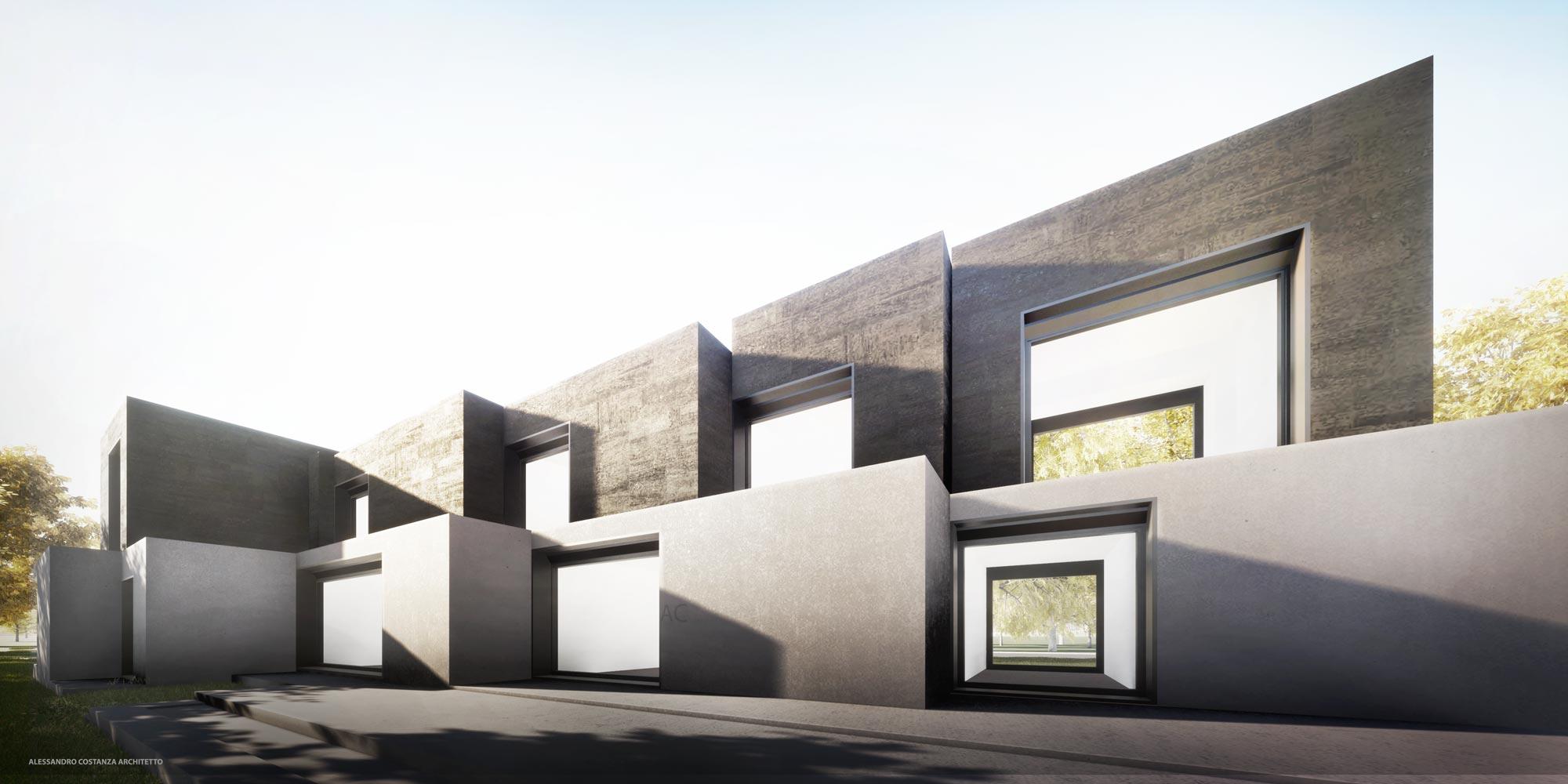 Studio volumetrico per progetto residenziale render esterno