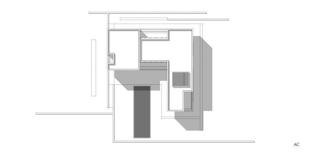 planimetria con ombre - progetto fabbricato residenziale pianta ad L due livelli