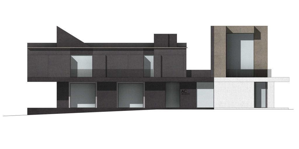 architectural project with texture and shadows - residential project for two-storeys building