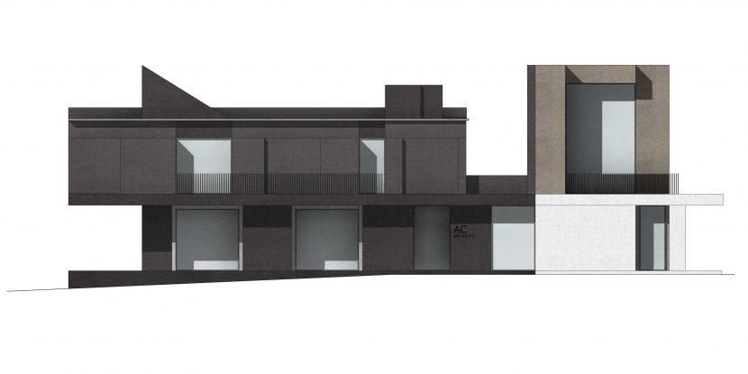 prospetto architettonico con texture e ombre - Progetto residenziale su due livelli
