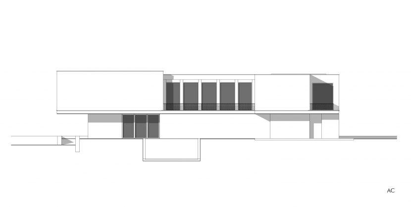 prospetto - progetto fabbricato residenziale facciata interna sul giardino privato - Alessandro Costanza Architetto 003