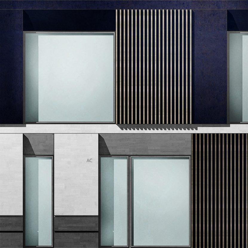 Studio facciata architettonica con ombre - Basamento in pietra e frangisole in legno