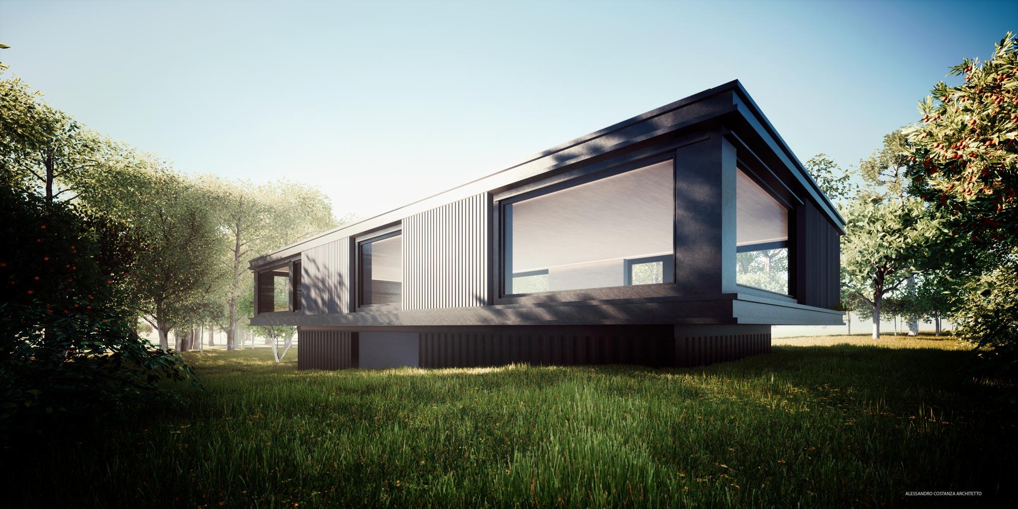 studio per progetto residenziale render esterno - Alessandro Costanza Architetto